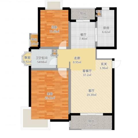 越湖名邸2室2厅1卫1厨114.00㎡户型图