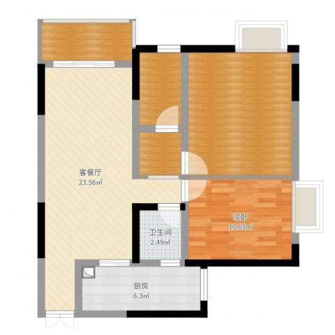阳光南滨1室2厅1卫1厨85.00㎡户型图