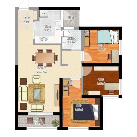 俊发・滨海俊园3室2厅1卫1厨79.00㎡户型图