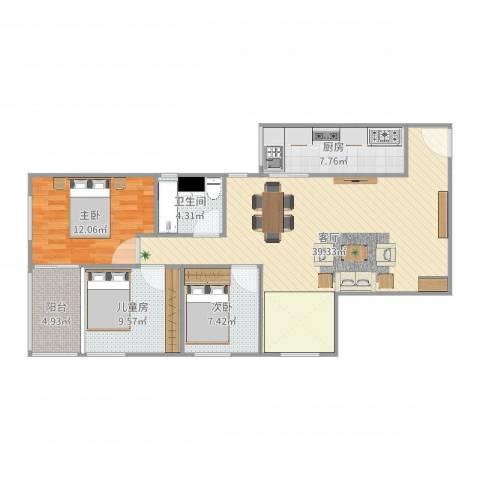 南航新村3室1厅1卫1厨107.00㎡户型图