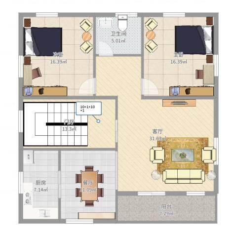 IOI棕榈城2室2厅1卫1厨135.00㎡户型图