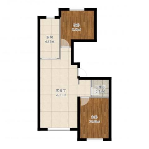 江城文苑2室2厅1卫1厨70.00㎡户型图