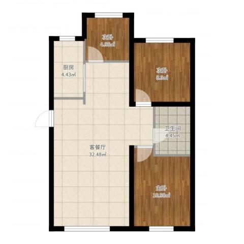 江城文苑3室2厅1卫1厨83.00㎡户型图