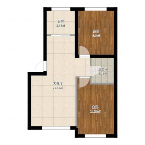 江城文苑2室2厅1卫1厨62.00㎡户型图