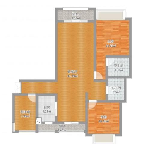 帝景观澜45栋1单元504室2室2厅2卫1厨114.00㎡户型图