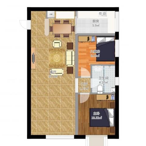 京江华府2室1厅1卫1厨84.00㎡户型图