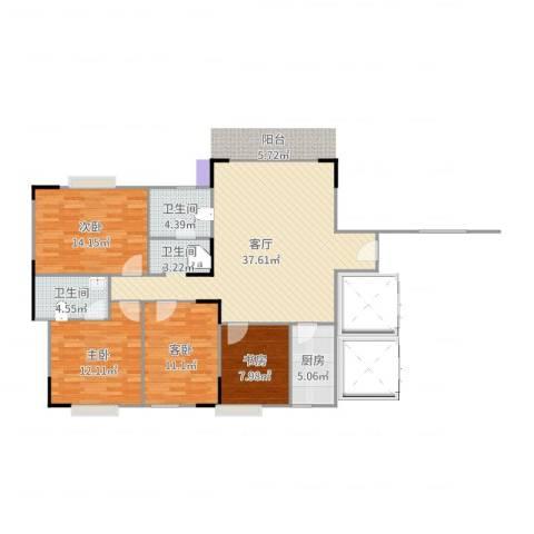 水北新村二期4室1厅2卫1厨121.00㎡户型图