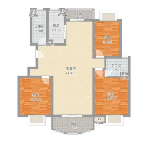 东苑古龙城3室2厅2卫1厨123.00㎡户型图