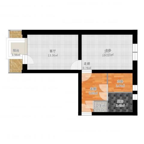 西四环南路75号院2室1厅1卫1厨56.00㎡户型图