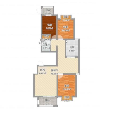 加州壹号3室2厅1卫1厨105.00㎡户型图