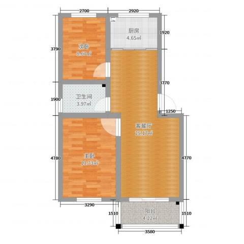 月明苑2室2厅1卫1厨76.00㎡户型图