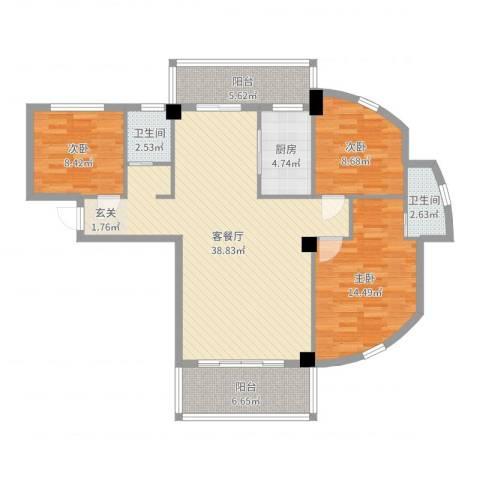 禧福泛海时代3室2厅2卫1厨116.00㎡户型图