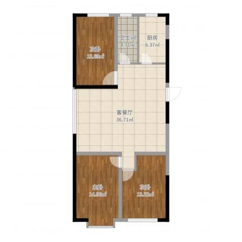 阳光小镇二期3室2厅1卫1厨112.00㎡户型图