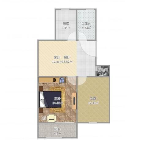 友新新村2室1厅1卫1厨76.00㎡户型图