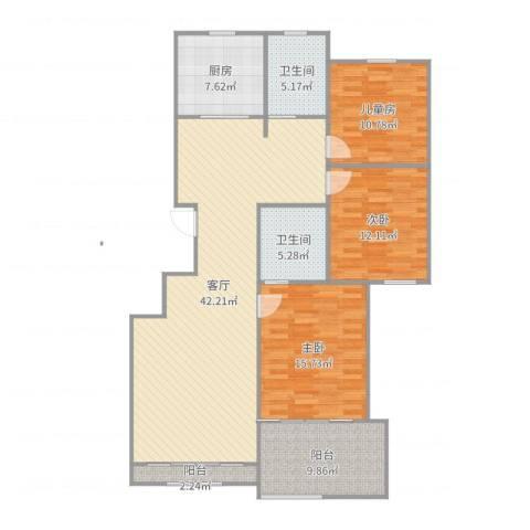 雅戈尔东湖花园3室1厅2卫1厨139.00㎡户型图