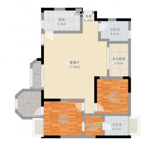 凯泰欧城2室2厅2卫1厨114.00㎡户型图