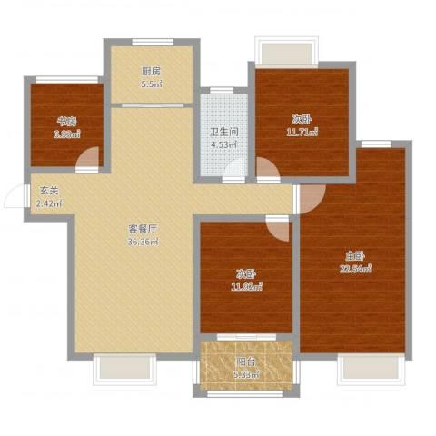 创元金域华府4室2厅1卫1厨131.00㎡户型图