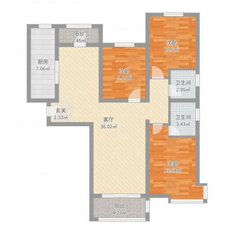 东方晨曲花苑3室1厅2卫1厨111.00㎡户型图