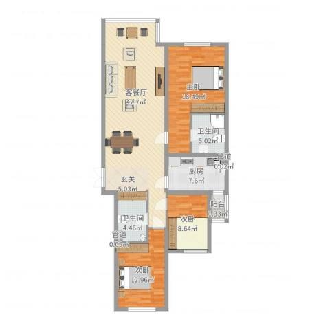 首创・龙湾3室2厅2卫1厨127.00㎡户型图