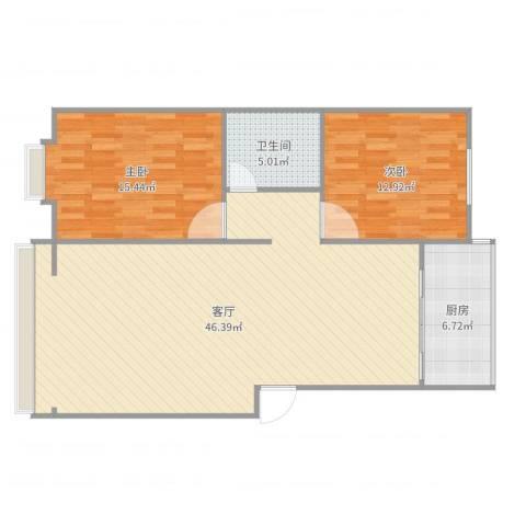 阳光佳和2室1厅1卫1厨108.00㎡户型图
