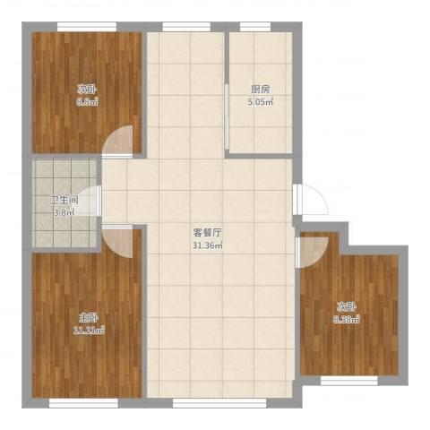 朝阳鸿盛世家3室2厅1卫1厨86.00㎡户型图