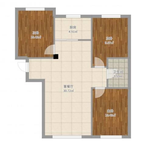 朝阳鸿盛世家3室2厅1卫1厨87.00㎡户型图