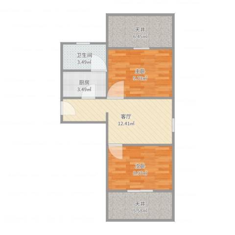 德州七村2室1厅1卫1厨63.00㎡户型图