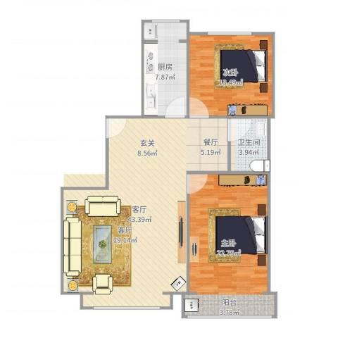 金水豪庭2室1厅1卫1厨114.00㎡户型图