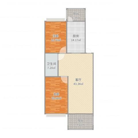 滨江凤凰城2室1厅1卫1厨146.00㎡户型图