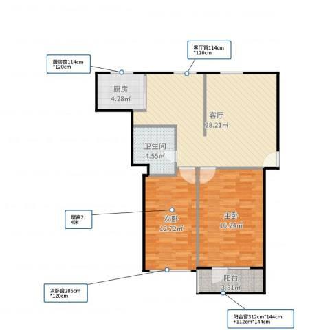 潘家园南里2室1厅1卫1厨87.00㎡户型图
