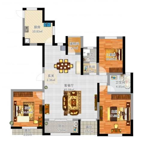 海安奥体新城3室2厅1卫1厨145.00㎡户型图