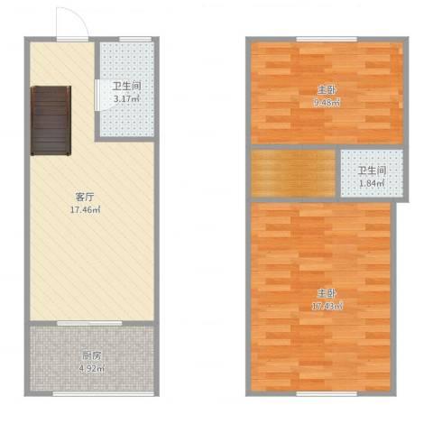 爱尚泾渭X22室1厅2卫1厨71.00㎡户型图