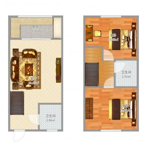 爱尚泾渭X22室1厅2卫1厨73.00㎡户型图