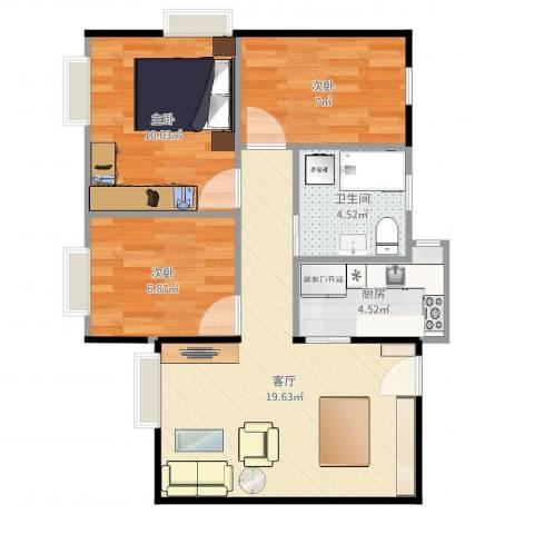 海珠半岛花园3室1厅1卫1厨66.00㎡户型图