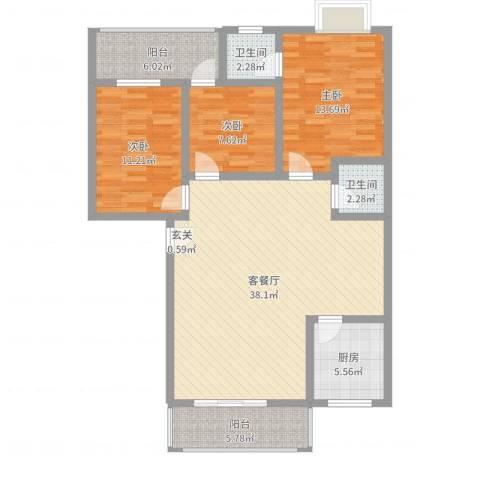 荷塘月色3室2厅2卫1厨116.00㎡户型图