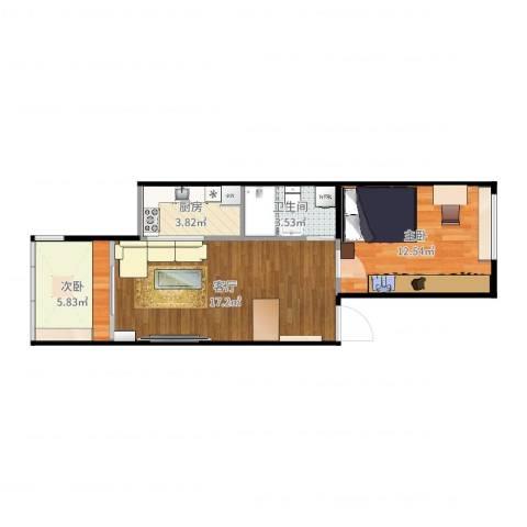 安慧东里2室1厅1卫1厨54.00㎡户型图