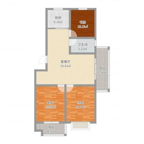 嘉禾・盛世豪庭3室2厅1卫1厨123.00㎡户型图