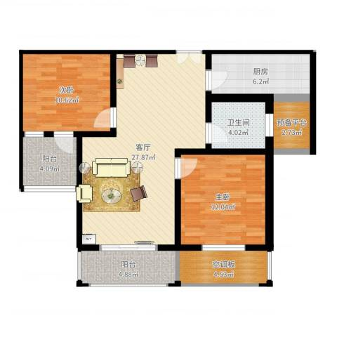 常熟中关村科技城2室1厅3卫1厨96.00㎡户型图