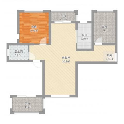 国润溪香米兰1室2厅1卫1厨77.00㎡户型图
