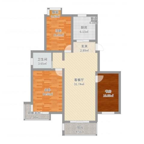 亚东同城印象3室2厅1卫1厨106.00㎡户型图