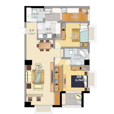 枫丹国际公寓2室1厅2卫1厨110.00㎡户型图