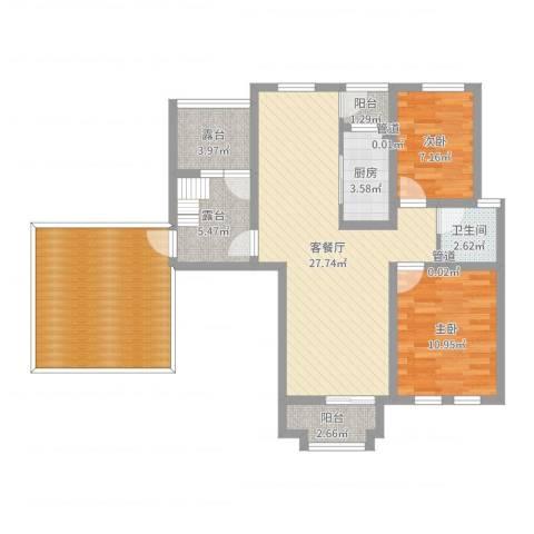 东方格兰维亚2室2厅1卫1厨103.00㎡户型图