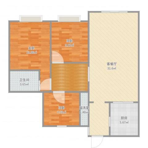 杨凌恒大城3室4厅1卫1厨98.00㎡户型图
