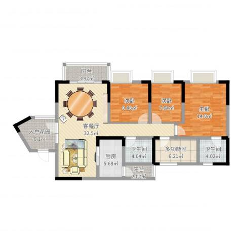 名门山庄3室2厅2卫1厨121.00㎡户型图
