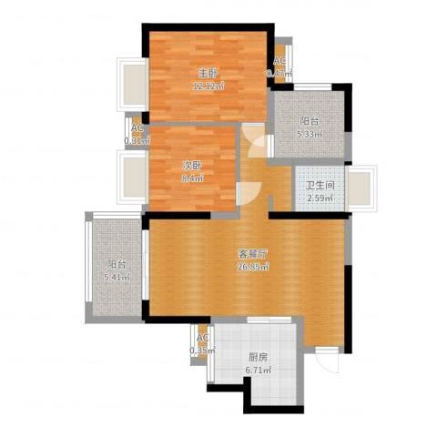 广州星河・山海湾2室2厅1卫1厨86.00㎡户型图