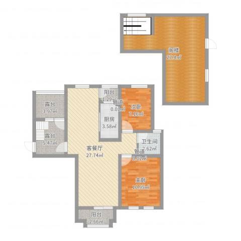 东方格兰维亚2室2厅1卫1厨116.00㎡户型图