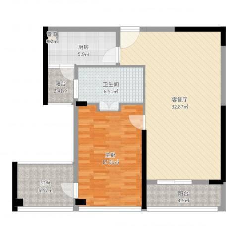 前海华侨城大酒店・华寓1室2厅1卫1厨95.00㎡户型图