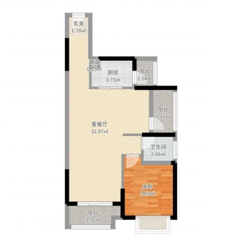 华侨城四海锦园1室2厅1卫1厨72.00㎡户型图