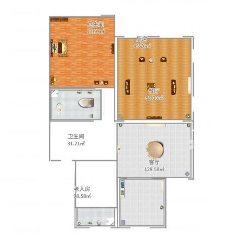 合生国际花园1室2厅2卫1厨502.00㎡户型图