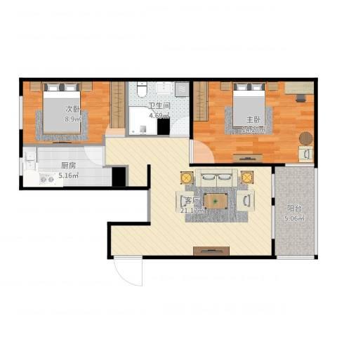 阜成路甲52号院2室1厅1卫1厨74.00㎡户型图